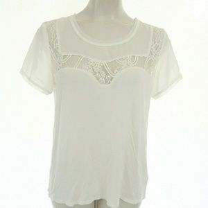 H&M M Top Short Sleeve White Lace Cutout Blouse Ca